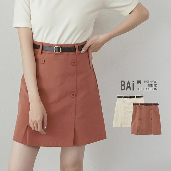 磨毛斜紋面雙排釦皮帶褲裙M-L號-BAi白媽媽【310151】