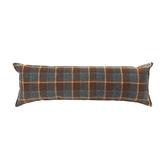 仿麻格紋拼接環保棉長抱枕40x120cm 咖