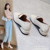 女鞋年夏季新款單鞋百搭高跟職業粗跟工作皮鞋英倫中跟樂福鞋 雙十二全館免運