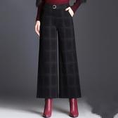 寬褲格子毛呢九分闊腿褲女秋冬季氣質鬆緊高腰寬鬆西裝甩腳褲修身顯瘦 新品