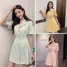 VK精品服飾 韓系單排扣翻領修身格子顯瘦休閒短袖洋裝