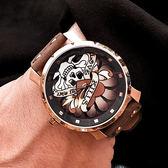 Tendence 天勢表 / TG230401 / 墨西哥 骷髏系列 礦石強化玻璃 防水100米 真皮手錶 黑x玫瑰金框x深褐 47mm