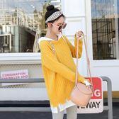 孕婦風衣外套孕婦毛衣女秋冬季好康推薦新款時尚假兩件針織衫連帽外套孕婦秋裝上衣