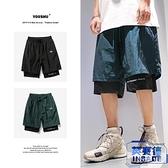 短褲男夏季外穿假兩件寬褲嘻哈休閒運動五分褲子【英賽德3C數碼館】