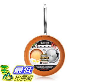 [8美國直購] 陶瓷不沾鍋 Gotham Steel Stainless Steel Premium 10吋 Frying Pan, Triple Ply Reinforced with Super