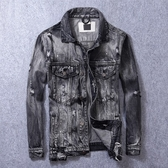 牛仔外套-水洗做舊刷色個性破洞男丹寧夾克73rj15【巴黎精品】
