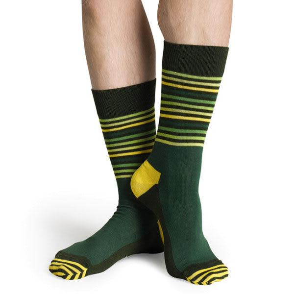 『摩達客』瑞典進口【Happy Socks】綠黃半橫紋中統襪(60112081026)