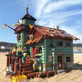 樂拼積木創意漁夫小屋老漁店拼裝積木玩具