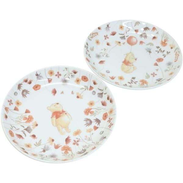 小禮堂 迪士尼 小熊維尼 日本製 陶瓷圓盤2入組 (白花草款) 4959079-29085