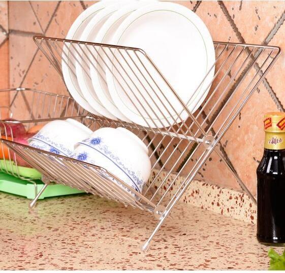 瀝水架/碗筷架 不銹鋼水槽瀝水架廚房置物架碗碟架宜家可折疊碗盤架【快速出貨八折搶購】