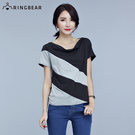 短袖T恤--時尚垂領俐落剪裁修身斜條拼接撞色上衣(黑XL-5L)-U438眼圈熊中大尺碼◎