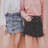 2019春裝港風防走光牛仔裙褲女黑色高腰單排扣顯瘦假兩件闊腿短褲