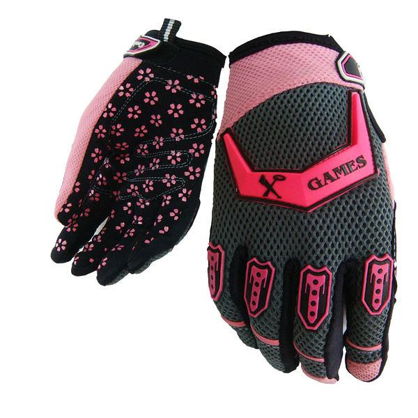 【戶外趣】女款透氣全指防滑手套單車手套(粉紅佳人 1371)