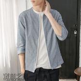 【618好康又一發】春季新款條紋七分袖襯衣男青年