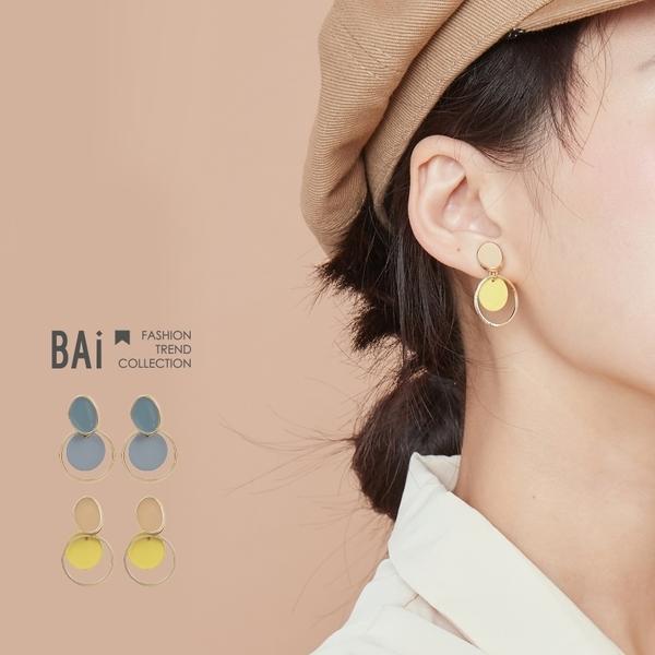 耳環 幾何雙層小圓環滴釉耳針耳環-BAi白媽媽【196318】