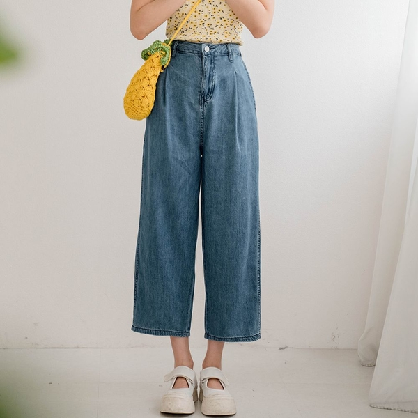 MIUSTAR 日系!牛仔打褶九分燈籠褲(共1色,S-XL)【NJ1895】預購