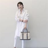 白色長袖襯衫~韓國東大門款寬松bf風大版棉中長款白色襯衫女大碼長袖襯衣女DC131衣時尚
