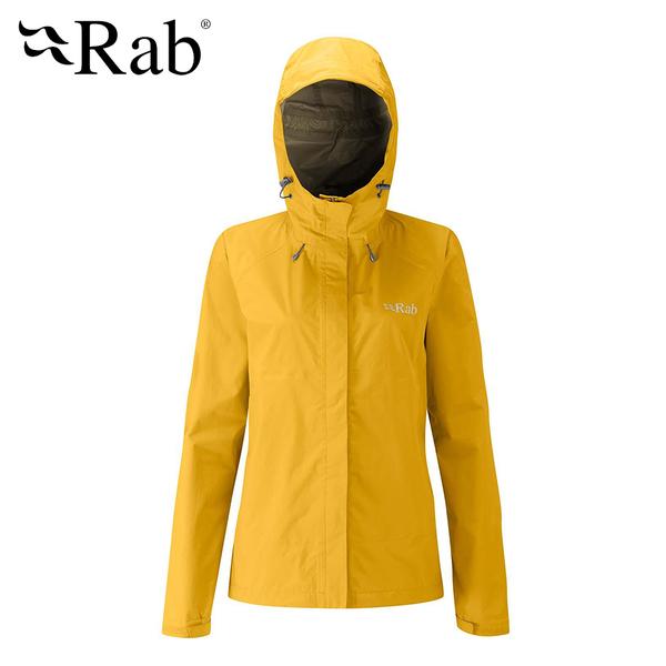 英國 RAB Downpour Jacket 高透氣連帽防水外套 女款 狄戎黃 #QWF63