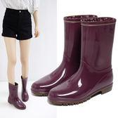 雨鞋   環保材質雨靴防滑水鞋輕便水靴平跟膠鞋成人中筒女雨鞋