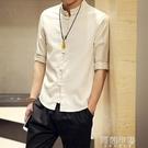 唐裝 中國風男裝 七分袖亞麻襯衫 短袖棉麻上衣大尺碼中式盤扣立領唐裝襯衣 阿薩布魯