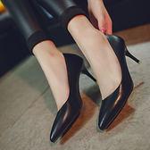 款單鞋女高跟細跟尖頭鞋淺口漆皮銀色5-6厘米單根中跟女士 森雅誠品