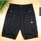 【大盤大】夏 五分褲 XL號 黑色 短褲 格子 休閒褲 格紋 口袋 有型 流行 推薦 男友 情人節 禮物