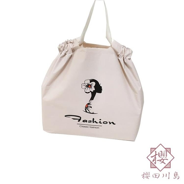 48枚 禮品包裝購物袋磨砂收口高檔袋子定制手提抽繩時尚【櫻田川島】