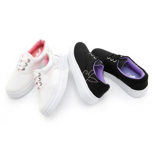 PLAYBOY經典美感 水鑽鞋孔厚底休閒鞋-白