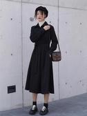 長袖連身裙黑色秋冬連身裙年新款polo赫本風收腰長裙法式顯瘦長袖襯衫裙 春季特賣