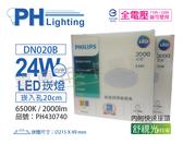 PHILIPS飛利浦 LED DN020B 24W 6500K 白光 全電壓 20cm 舒適光 崁燈 _ PH430740