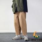 日系簡約百搭休閒褲直筒闊腿中性素色長褲男女同款【創世紀生活館】