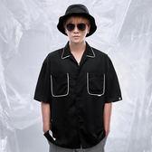撞色滾邊保齡球襯衫 STAGE BOWLING OVERSIZED SHIRT  黑色/白色 兩色