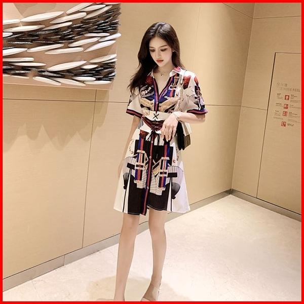 春夏短袖洋裝 2021夏裝新款印花不規則短袖雪紡連衣裙+封腰兩件套女 15059 依多多