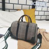 斜背包 寶藏男友格紋撞色皮革波士頓包-Joanna Shop
