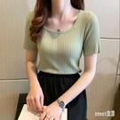 抹茶綠短袖t恤女夏季2020韓版修身冰絲針織打底衫ins百搭半袖上衣 HX5305【Sweet家居】