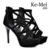 克妹Ke-Mei【ZT69421】歐洲站辛辣夜店美踝摟空厚底羅馬靴型露指高跟鞋