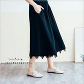 褲子  日安靜謐方格織紋蕾絲下擺棉麻寬褲   單色-小C館日系