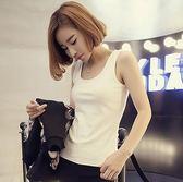 EASON SHOP(GU5192)圓領工字背心外穿純棉無袖T恤內搭衫女上衣服素色白棉T韓版彈力貼身顯瘦緊身