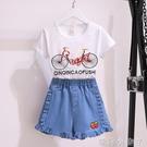 女童夏裝網紅套裝洋氣2021年新款夏季中大兒童短袖牛仔短褲兩件套 蘿莉新品