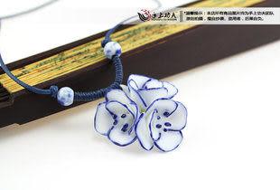 手捏瓷花 清雅三朵小花 陶瓷項鏈