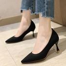 尖頭鞋.韓版氣質素面編織高跟包鞋.白鳥麗子