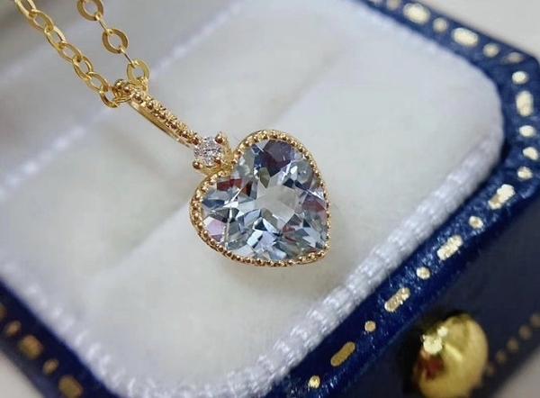 純18k金鑽石 天然海水藍寶 法式鑲嵌墜子 優惠價