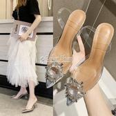 透明涼鞋女夏新款一字帶細跟水鉆性感尖頭高跟鞋夏仙女風 color shop