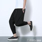 飛鼠褲雪紡哈倫褲男九分褲青年寬鬆9分吊襠褲大碼潮嘻哈飛鼠休閒垮褲子 韓國時尚週