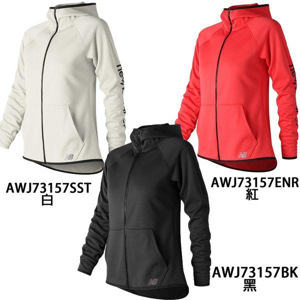 New Balance 女裝 外套 連帽 刷毛 輕量 針織 保暖 袋鼠口袋 黑 / 白 / 紅【運動世界】