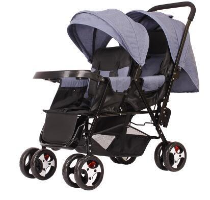 雙人推車 雙胞胎嬰兒推車 兒童傘車 外出手推車 二胎腳踏車  可坐可躺 特價【藍星居家】