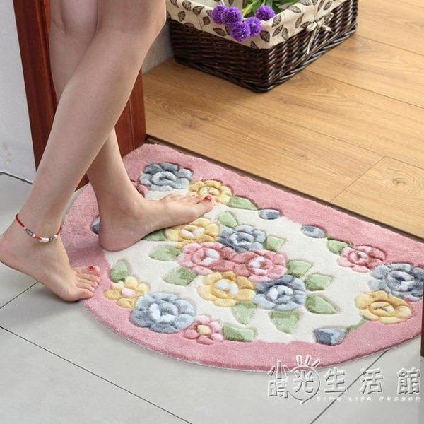 玫瑰剪花半圓地墊門墊 廚房臥室衛生間門口吸水地墊 浴室防滑墊子
