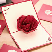 3D玫瑰花立體賀卡情人節禮物櫻花創意結婚情侶表白生日教師節卡片【快速出貨八折優惠】