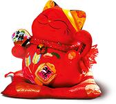 【金石工坊】諸願福滿吉祥紅貓(高16CM)紅色招財貓 開店送禮 開業禮品 風水開運擺飾 撲滿存錢筒