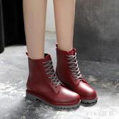中大尺碼雨鞋 時尚馬丁雨靴成人防水雨鞋女加絨中筒韓版防滑水鞋膠鞋 nm21092【VIKI菈菈】